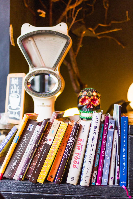 books in bonbon chocolate shop Manchester