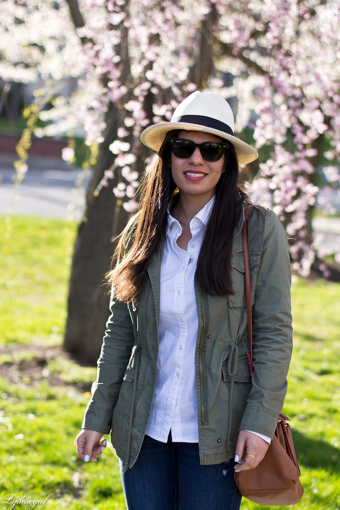 field jacket, white shirt, panama hat, laceup flats-2.jpg