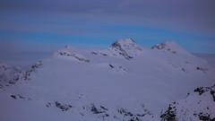 Szczyty Pizzo Malenco 3438m i Piz Tremoggia 3441m z przełęczy Passo Marinelli Occidentale 3014m