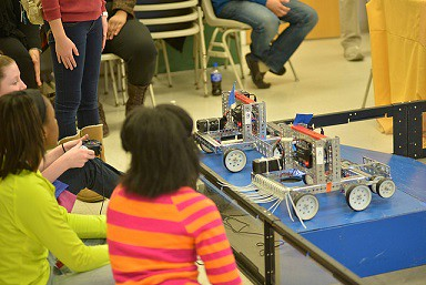 May 3 is DigiGirlz Day at Wilmington University. 8th and 9th grade girls attend this sold-out day of fun and learning in science, math, engineering and technology. The robotics competition is popular with all attendees.