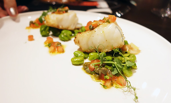 14 Pan Roasted Black Wild Cod, Fava Beans, Sauce Vierge