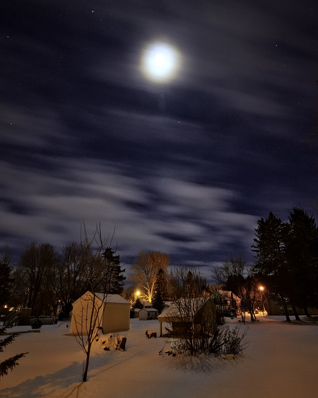 Winter Moon and Lights