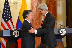 U.S. Secretary of State John Kerry shakes hands with Colombian President Juan Manuel Santos following their working lunch and joint news conference at the U.S. Department of State in Washington, D.C., on February 5, 2016. [State Department photo/ Public Domain]