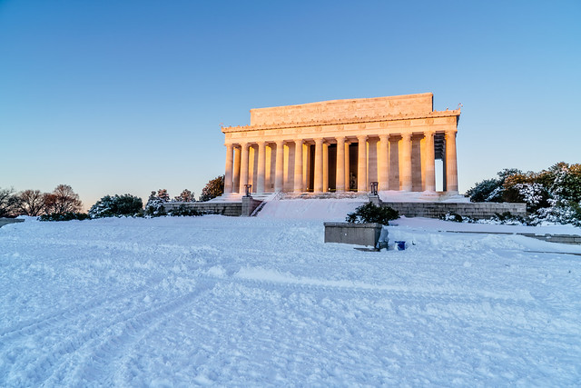 Lincoln Memorial after Snowzilla aglow with the sun's first rays