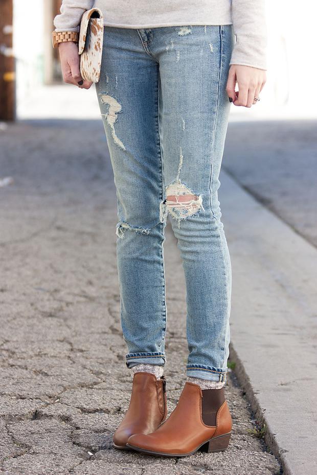 Cognac Ankle Booties, Distressed Skinny Jeans, Gap Jeans