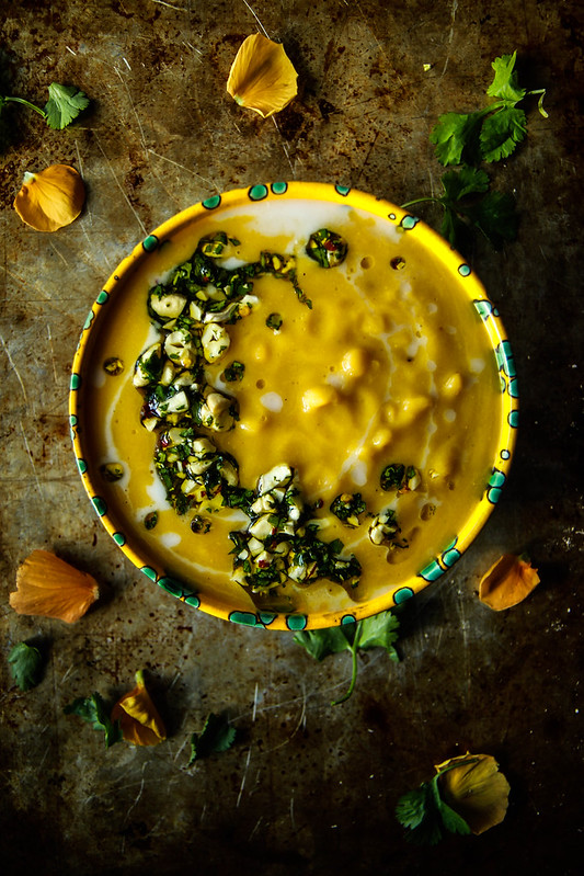 Butternut Squash Coconut Split Pea Soup with Spicy Cashew Cilantro Oil- Vegan from HeatherChristo.com