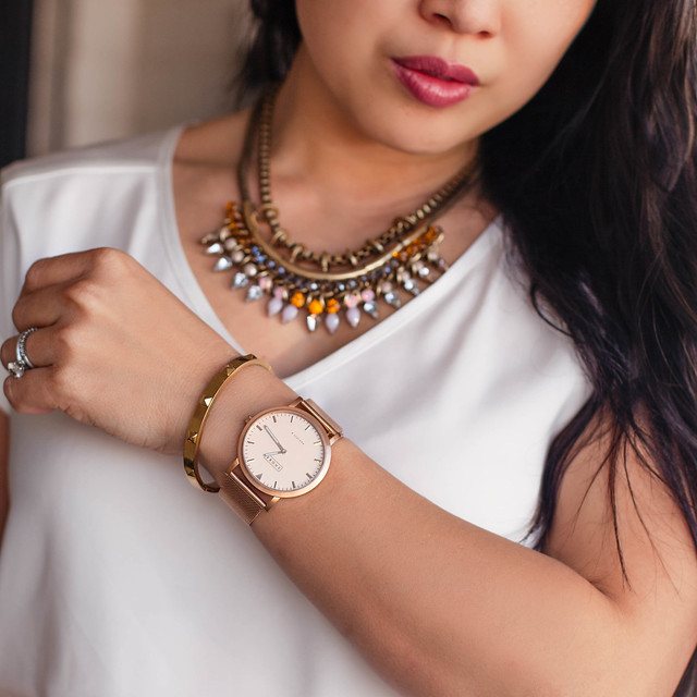 cute & little blog | shore projects salcombe rose gold watch, express pink statement necklace | accessories