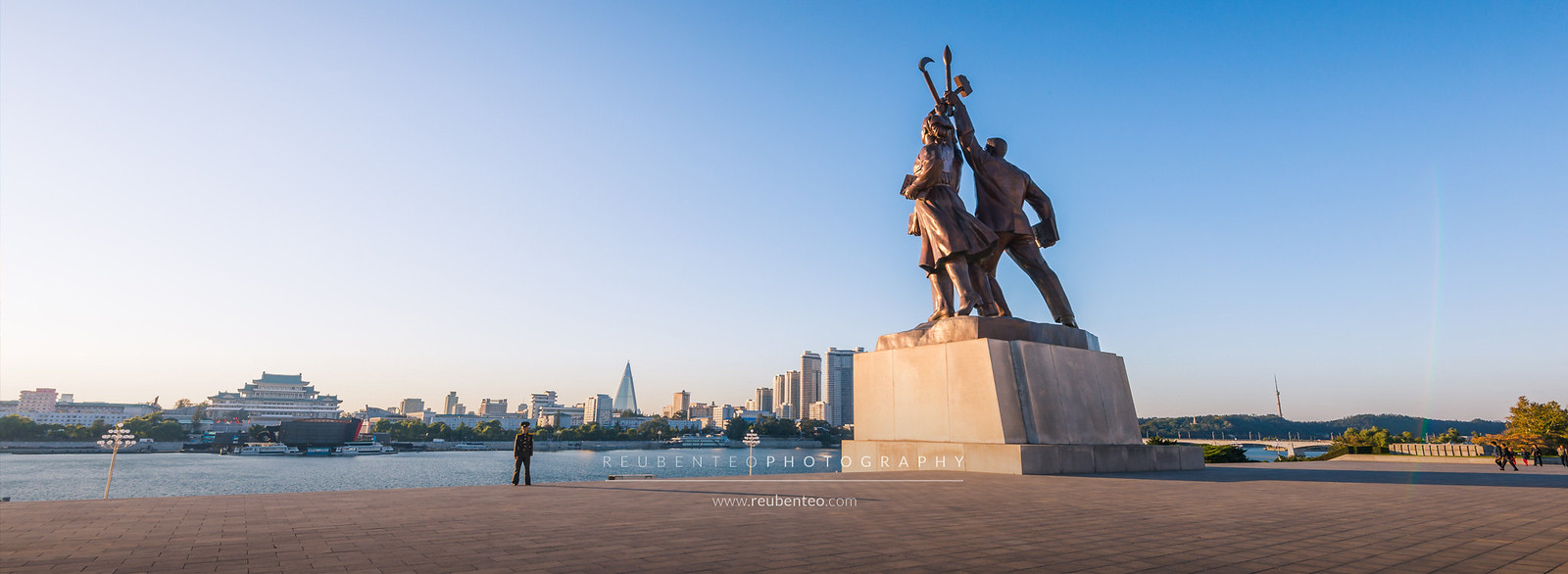 The Juche Tower Statue Overlooking Pyongyang City