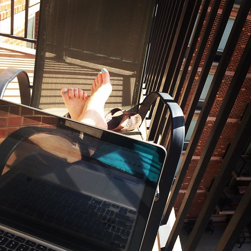 Perfect sunshiny day means first balcony work session of the season! Yay spring!