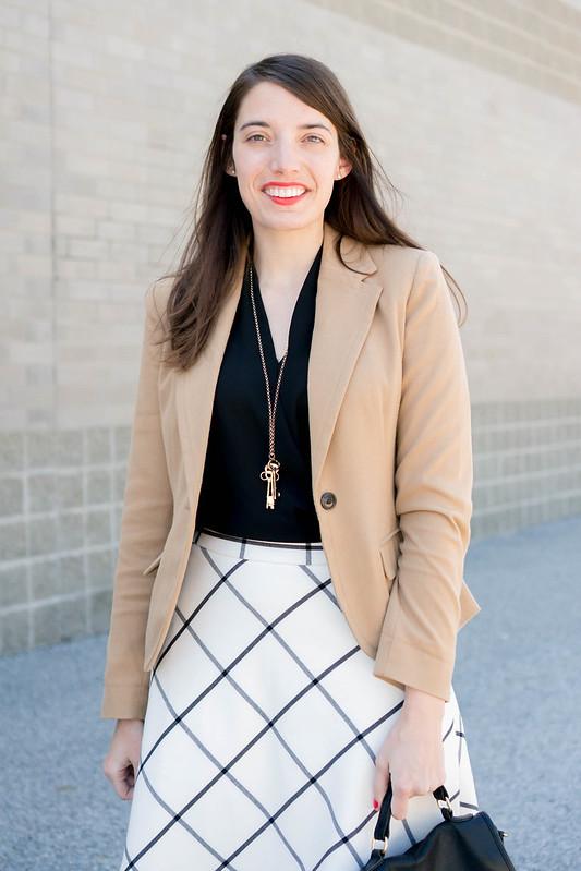 tan Merona blazer + black and white windowpane skirt + black heels | spring work outfit