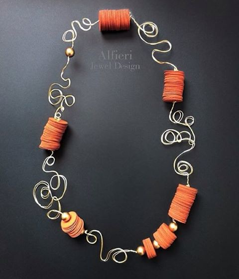 Orange Paper Discs and Silver Wire Necklace from Alfieri Jewel Design