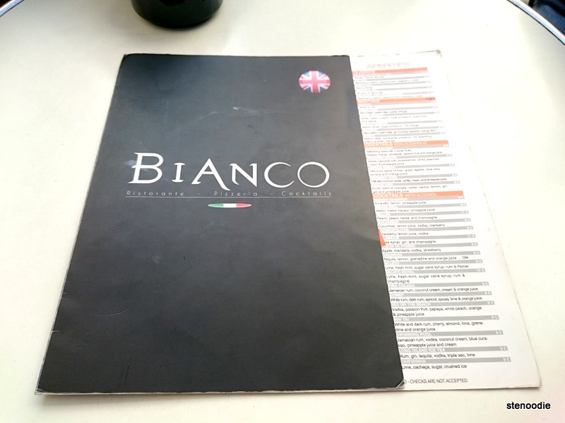 Bianco English menu
