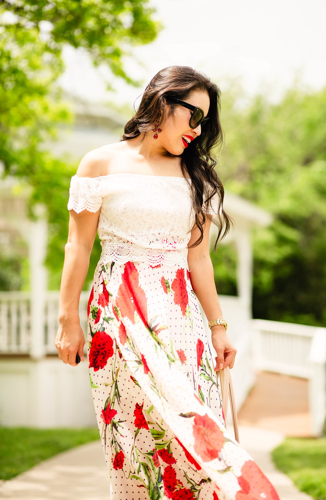 cute & little blog | petite fashion | lace crop top, floral polka dot maxi skirt, nude gladiator wedge sandals | spring outfit