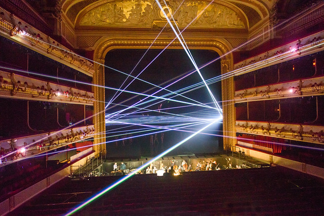 Laser beam display in Woolf Works ©ROH 2015. Photograph by Tristram Kenton