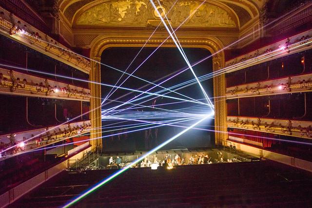 Laser beam display in Woolf Works ©ROH 2015. Photograph by Tristram Kenton