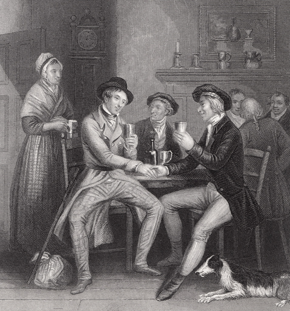 John Masey Wright and John Rogers' c. 1841 illustration of Auld Lang Syne.