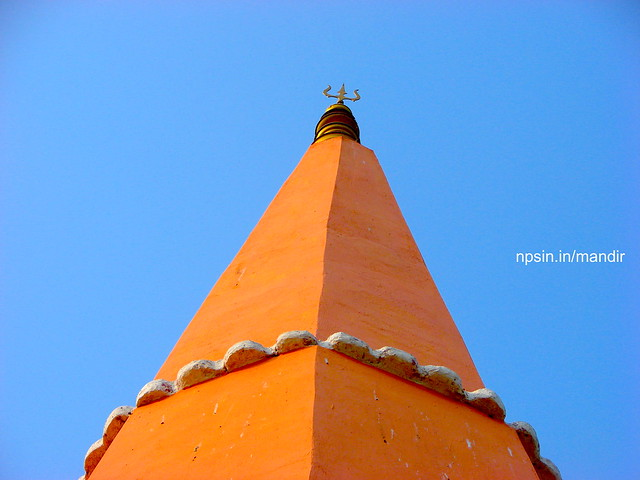 Trishul on the top of temple shikhar, this photo was clicked from the top floor of the temple.