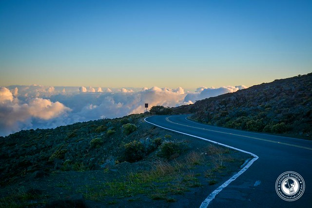 Driving down Mount Haleakala at Sunrise
