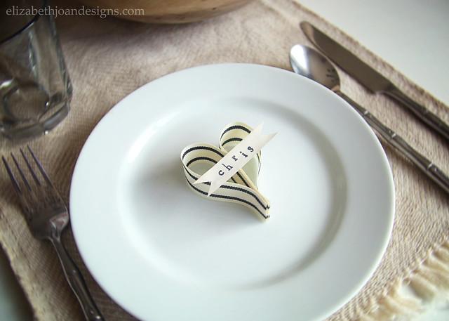 Ribbon Heart Place Card