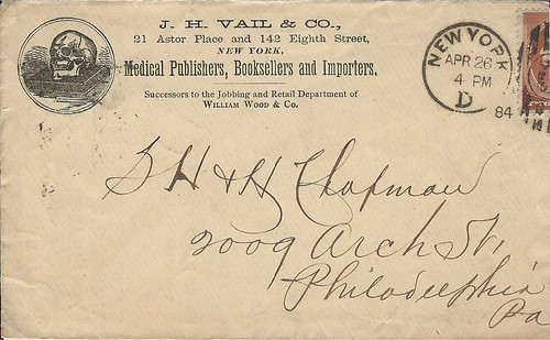 ISAAC WOOD, postal cover, 4-26-84