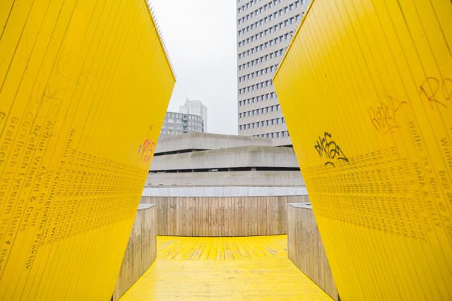 Luchtsingel yellow bridge Rotterdam
