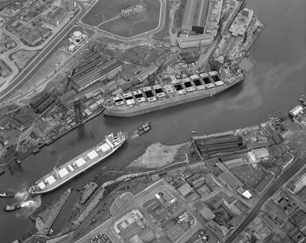 Aerial view of 'Naess Crusader' at Manor Quay