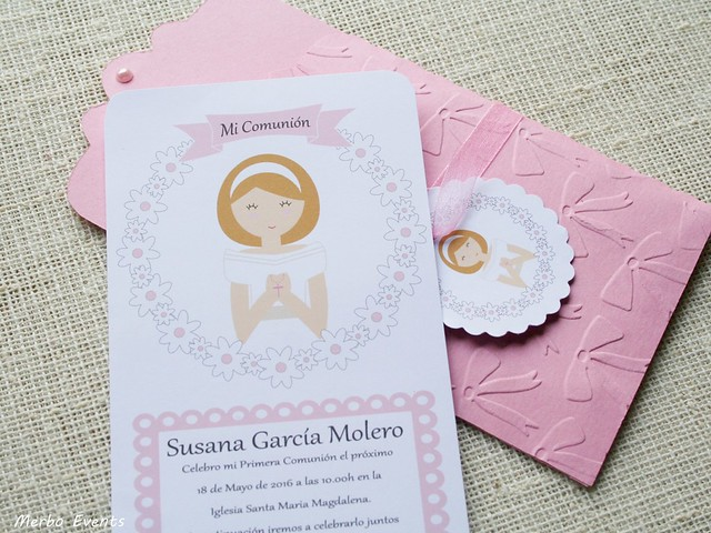 invitaciones comunion niña modelo gala by Merbo Events