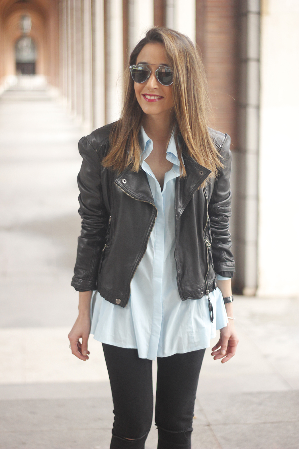 black leather biker black ripped jeans blue shirt outfit streetstyle13