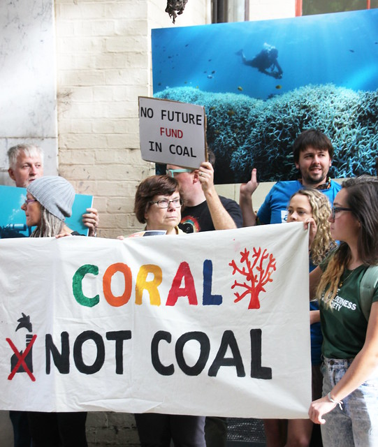 Coral Not Coal AYCC protest Melbourne at visit by Indian Finance Minister