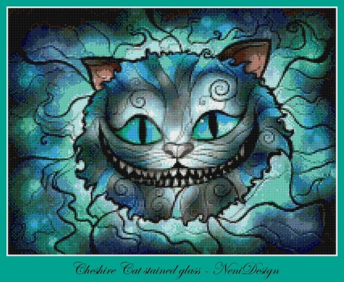 Cheshire Cat stained glass