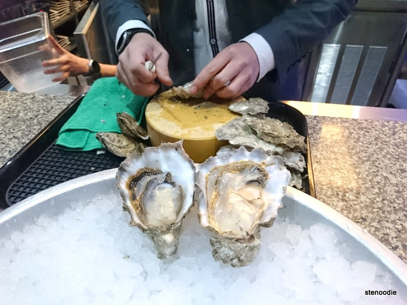 Two freshly shucked oysters on ice