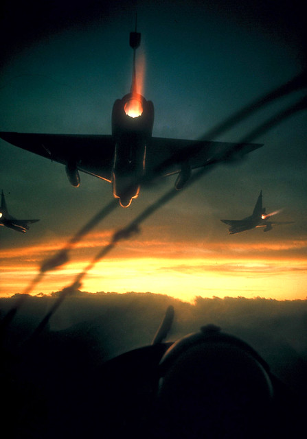 1966 American F-102 jets on a dawn bombing mission along the coast of South Vietnam - Photo by Larry Burrows (USA)