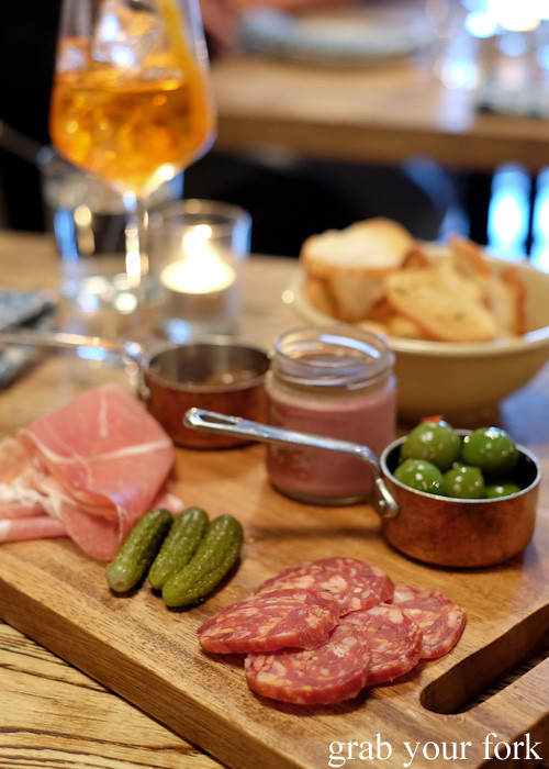 Salumi, prosciutto, chicken liver parfait and Sicilian green olives at Casoni, Darlinghurst