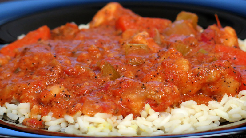 Chicken cacciatore on rice