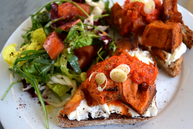 Roast Sweet Potato & Labneh with Harissa on Toast at Pop Up Cafe, Deal | www.rachelphipps.com @rachelphipps