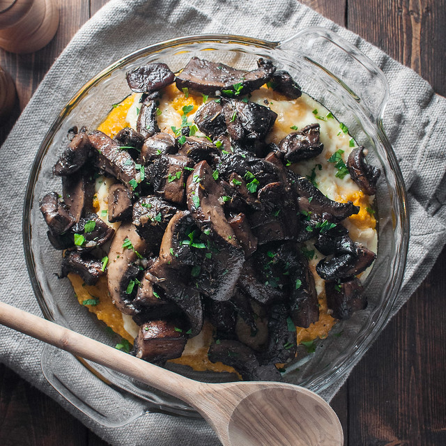 Quick, creamy polenta dripping with bubbly melted brie and buttery herbed mushrooms (gluten free meatless main dish)