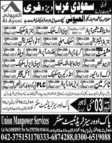 Oil Changers Auto Electrician in Saudi Arabia Jobs 2016