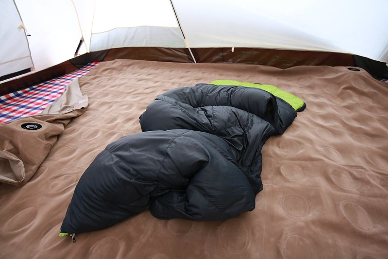 攤開的睡袋