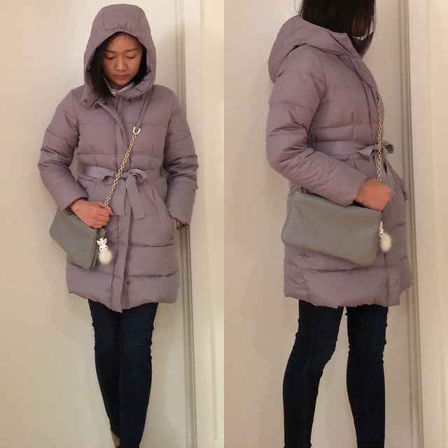 J.Crew Girls' Long Powder Puffer Coat in heirloom grey, size 12