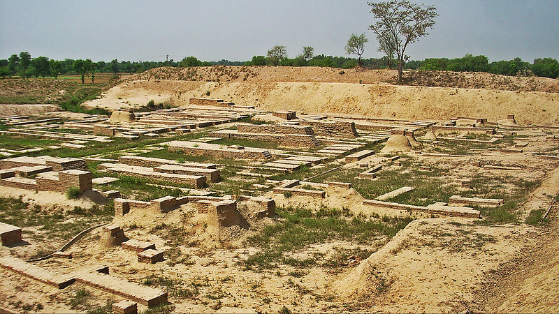 View of Granary and Great Hall on Mound F at the archaeological site of Harappa