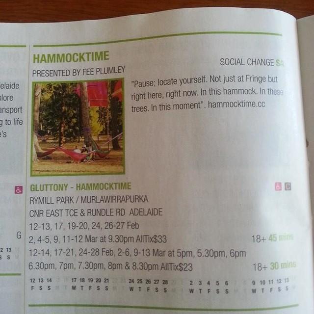 hammocktime, page 84, Adelaide Fringe Guide