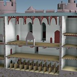 A section through the range between the Chapel Tower and the Kitchen Tower, view from the east, c.1495. Basement: the stables; ground floor: the low wardrobe and first floor: the hall.