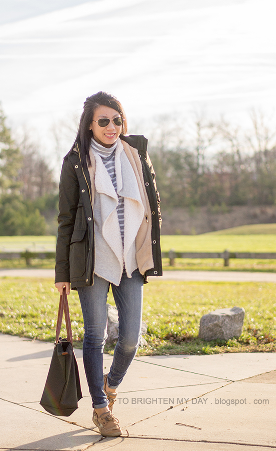 green parka, striped turtleneck, gray sherpa-lined open cardigan, boat shoes
