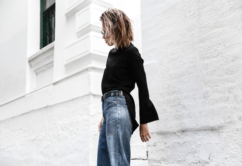 denim wide leg jeans street style Citizens of Humanity Melanie Givenchy Antigona medium street style inspo Stella McCartney loafers minimal Ellery flare sleeve top modern legacy fashion blogger  (5 of 15)
