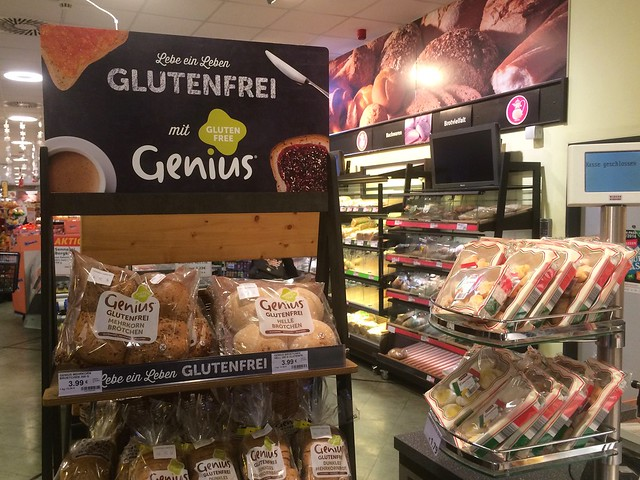 Genius Gluten Free bread assortment display in Berlin Kaisers grocery store