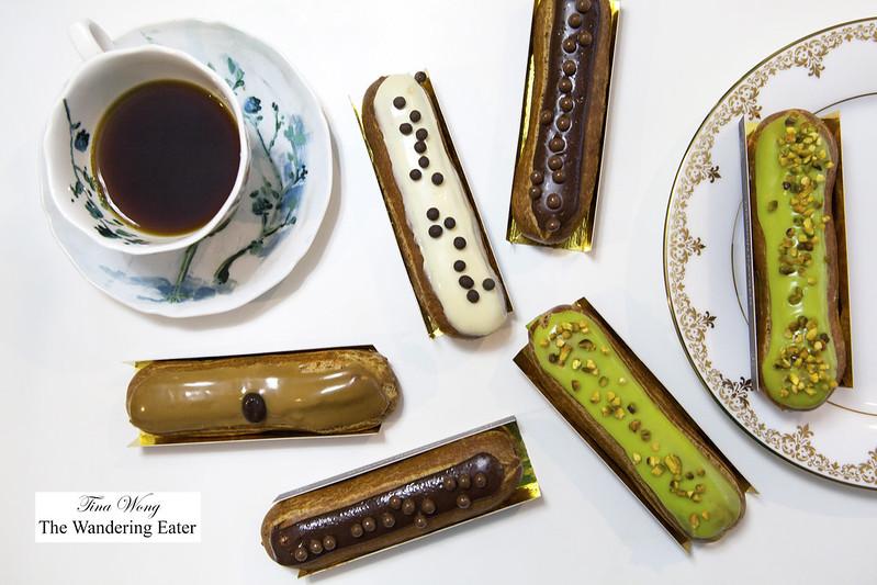 Eclairs - Nutella, Pistachio, Vanilla, and Coffee