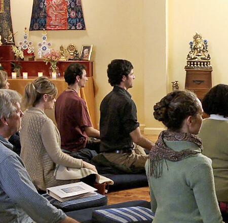 Meditation class. From the Sukhasiddhi Foundation