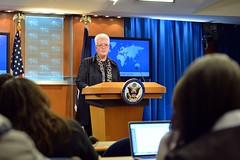 USAID Administrator Gayle Smith discusses the assistance portion of the President's FY 2017 Budget Request for the U.S. Department of State and USAID during the Daily Press Briefing at the U.S. Department of State in Washington, D.C., on February 9, 2015. [State Department photo/ Public Domain]