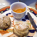 Cinnamon pecan scone and raisin scone with orange preserves