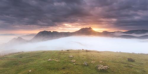 autumn sun mountain nature fog clouds sunrise landscape spain ray valley